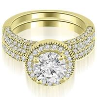2.10 cttw. 14K Yellow Gold Halo Round Cut Diamond Bridal Set