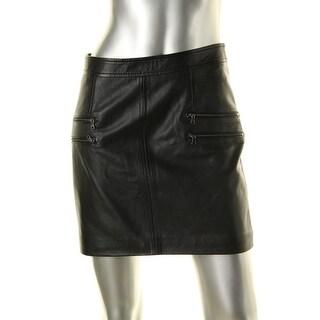 Paige Womens Leather Zip Pockets Mini Skirt