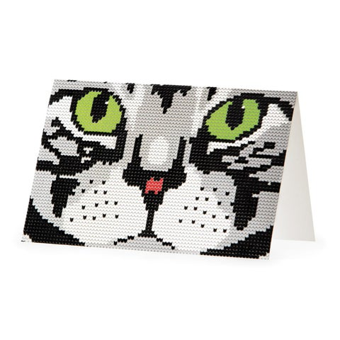 """Club Pack of 48 Gray, Green and Black Cat All Occasion Stationary Cards 6"""""""