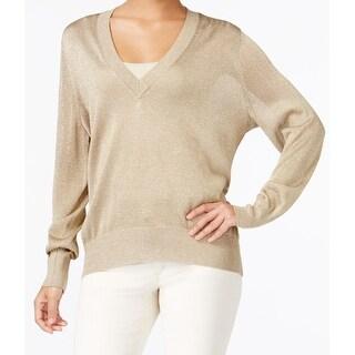 Michael Kors NEW Gold Women's Size Medium M V-Neck Shimmer Sweater