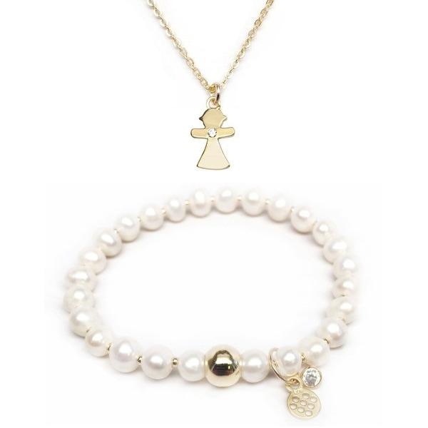"Freshwater Pearl 7"" Bracelet & CZ Girl Gold Charm Necklace Set"