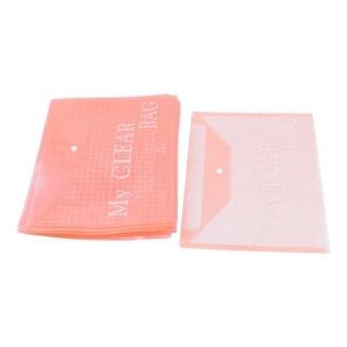 Office Plastic Button Closure A4 Paper File Bag Document Organizer Red 20pcs
