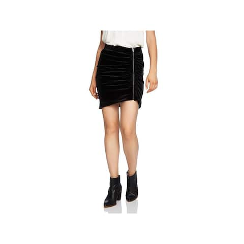 1.State Womens Mini Skirt Velvet Zip Front - M