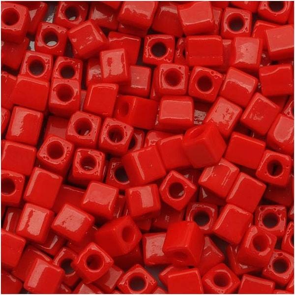 Miyuki 4mm Glass Cube Beads Opaque Red 407 10 Grams