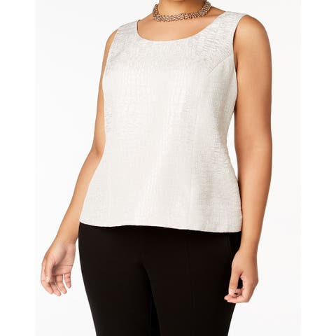 Kasper Champagne Womens Plus Jacquard Shell Blouse