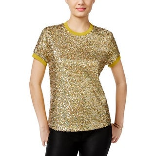 Guess Womens Blouse Sequined Short Sleeve