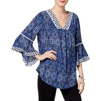 NY Collection Womens Blouse Crochet V-Neck
