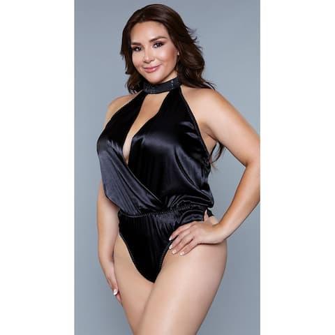 Plus Size Paige Satin Teddy - Black
