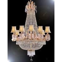 Swarovski Crystal Trimmed Empire Chandelier Lighting   White Shades