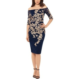 Xscape Womens Cocktail Dress Lace Floral - Navy/Gold