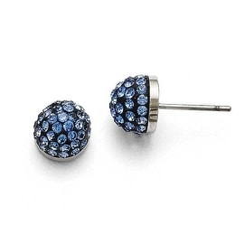 Chisel Stainless Steel Polished Blue Enamel with Crystals Post Earrings