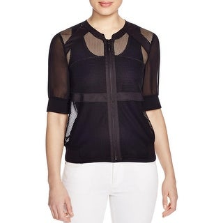 Finity Womens Casual Top Mesh Zip Up