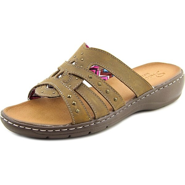 e7e55648e37d Shop Skechers Passenger Women Open Toe Leather Brown Slides Sandal ...
