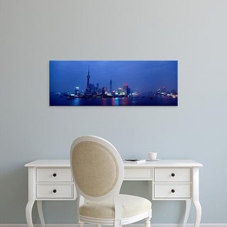 Easy Art Prints Panoramic Images's 'Buildings lit up at dusk, Shanghai, China' Premium Canvas Art
