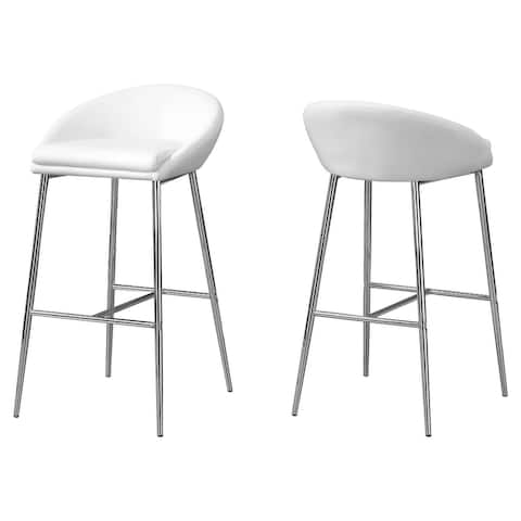 """Offex BarstooL - White - Chrome Base - Bar Height, 2 Pieces - 20.5""""x 20.5""""x 35.75"""""""