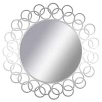 PTM Images 5-1664 15-1/2 Inch Diameter Round Interlocking Ring Framed Mirror - N/A