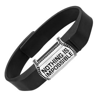 beFITting 'Nothing Is Impossible' Fitness Band Accessory in Stainless Steel - White