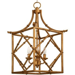 """Park Harbor PHPL5163 20"""" Wide 3 Light Foyer Pendant with Bamboo Style Frame"""