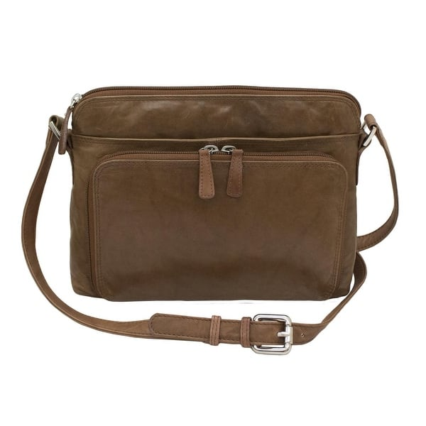 CTM® Women's Leather Shoulder Bag Purse with Side Organizer - one size -  Overstock - 18506861