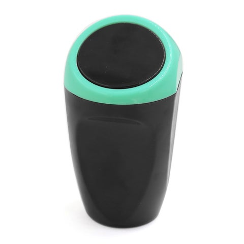 Blue Plastic Push Lid Portable Garbage Trash Can for Home Office Vehicle Car Black