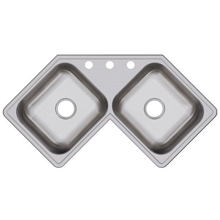 "Elkay DE21732  Dayton 31-7/8"" Double Basin Drop In Stainless Steel Kitchen Sink - 4 Faucet Holes"