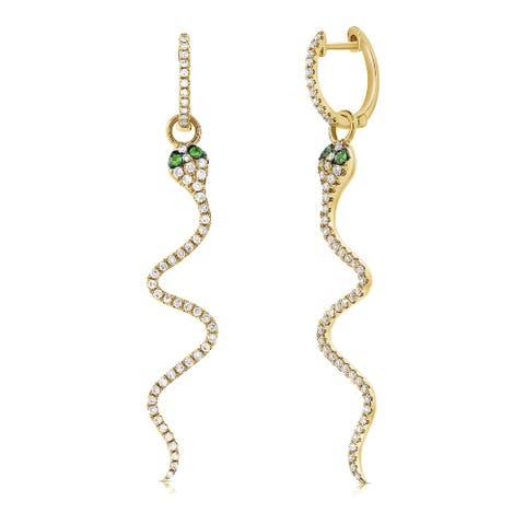 Snake Dangle Earrings Tsavorite & Diamonds 14K Yellow Gold by Joelle Collection