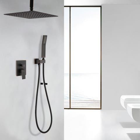 """Proox 12"""" Brushed Finished Squared Rain Shower Combo Set w/ Hand Shower"""