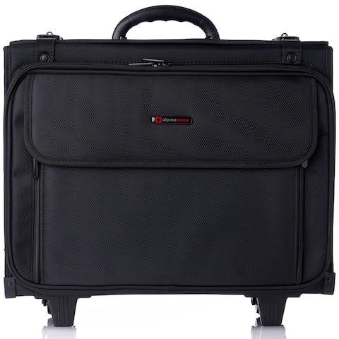 Alpine Swiss Rolling Briefcase Hard Side Catalog Case 17 Laptop Sleeve - Black - One Size