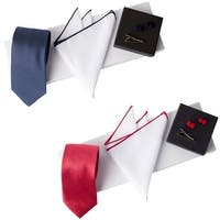 Jacob Alexander Men's Woven Luxury Tie Pocket Square Tie Clip Silk Knot Cufflinks & Giftbox - Medium