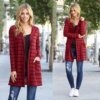 RIAH FASHION'S Striped Waffle Hooded Pocket Cardigan