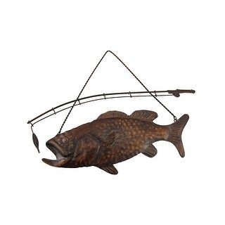 Rustic Finish Largemouth Bass Metal Wall Hanging - brown