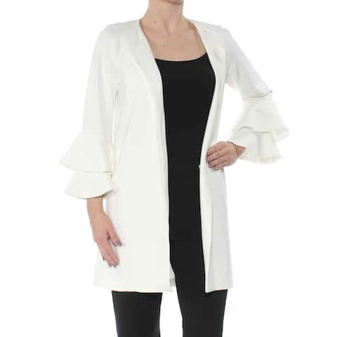 KENSIE Womens Ivory Ruffled Cardigan 3/4 Sleeve Open Cardigan Sweater Size: XS