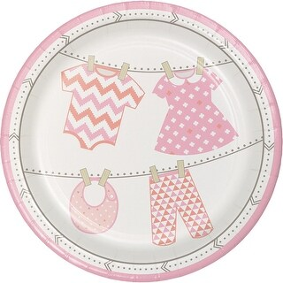 """Club Pack of 96 Pink and Ivory Bundle of Joy Baby Girl Disposable Luncheon Plates 7"""""""