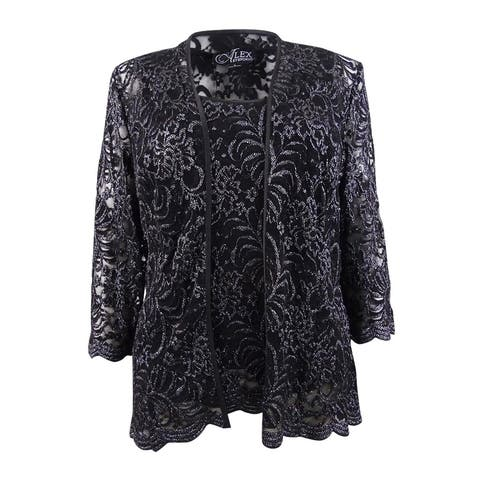 Alex Evenings Women's Glitter Lace Jacket & Shell (S, Black/Silver) - Black/Silver - S