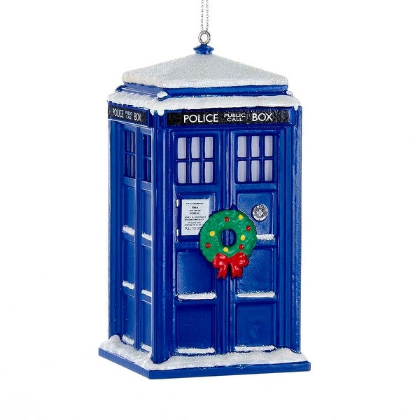 "Doctor Who TARDIS with Wreath and Light Effect 4.25"" Ornament"