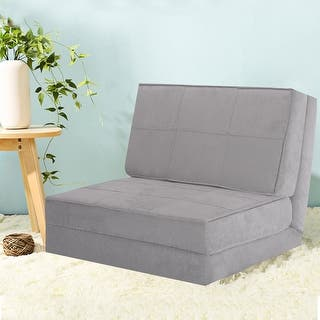 Costway Fold Down Chair Flip Out Lounger Convertible Sleeper Bed Couch Dorm Guest Gray