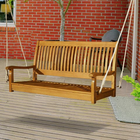 Outsunny 48'' Wooden Swing Bench w/ Supportive Ropes for 2 Person Without Frame for the Patio, Deck, or Backyard
