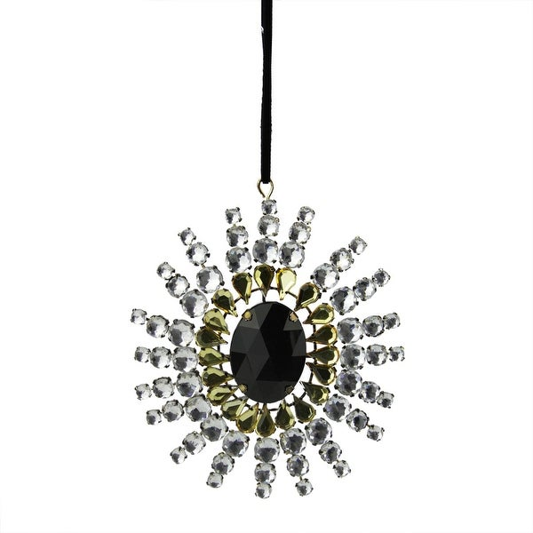 "4.75"" Black, Gold and Clear Gem Starburst Snowflake Christmas Ornament - multi"