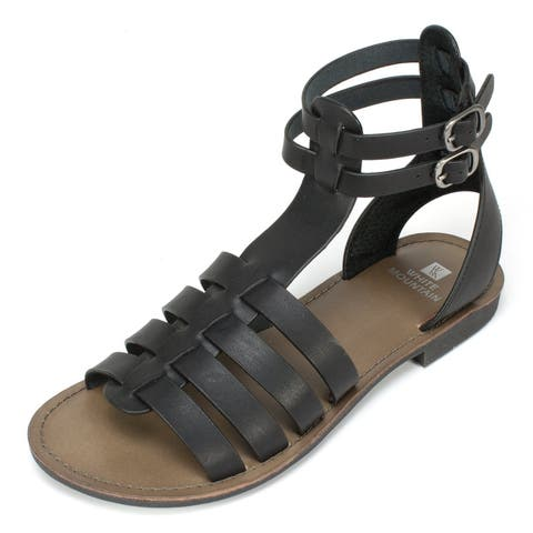 b0c5caa33158 White Mountain Womens carson Leather Open Toe Casual Gladiator Sandals