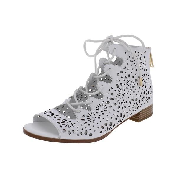 IMNYC Isaac Mizrahi Womens Lonnie Flat Sandals Leather Open Toe