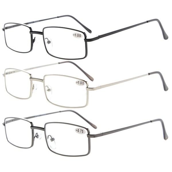 3-pack Eyekepper Readers Rectangular Spring Temple Medium Metal Reading Glasses Men Women +1.75