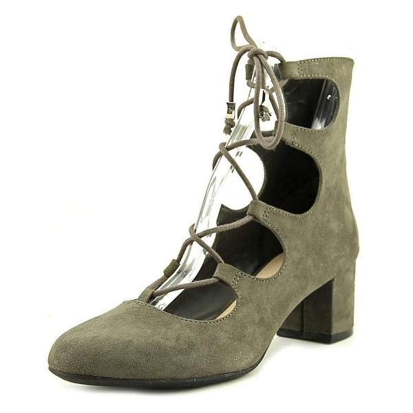 Bar III Womens Percy Suede Round Toe Ankle Strap Platform Pumps