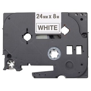 """Brother HGE2515PK Brother Black on White Label Tape - 0.94"" Width x 26.25 ft Length - Thermal Transfer - White, Black -"