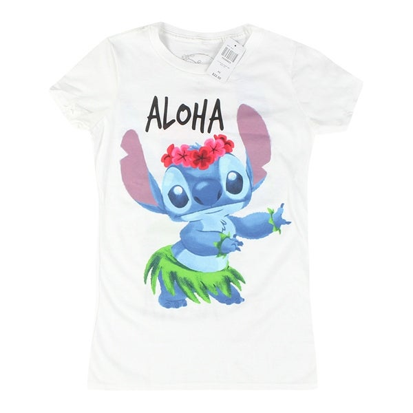 8d90014636df Shop Disney Lilo & Stitch Aloha Women's White T-shirt - Free Shipping On  Orders Over $45 - Overstock - 19760069