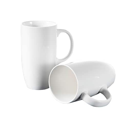 Panbado 18 oz. White Porcelain Mugs, Set of 2
