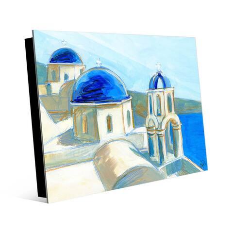 Kathy Ireland On The Coast Of Greece - Mediterranean Blue on Acrylic Wall Art Print
