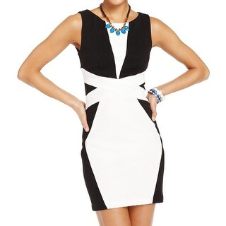 Teeze Me Womens Juniors Clubwear Dress Textured Colorblock