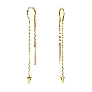 Bling Jewelry Gold Plated 925 Silver Spike Long Chain Threader Earrings
