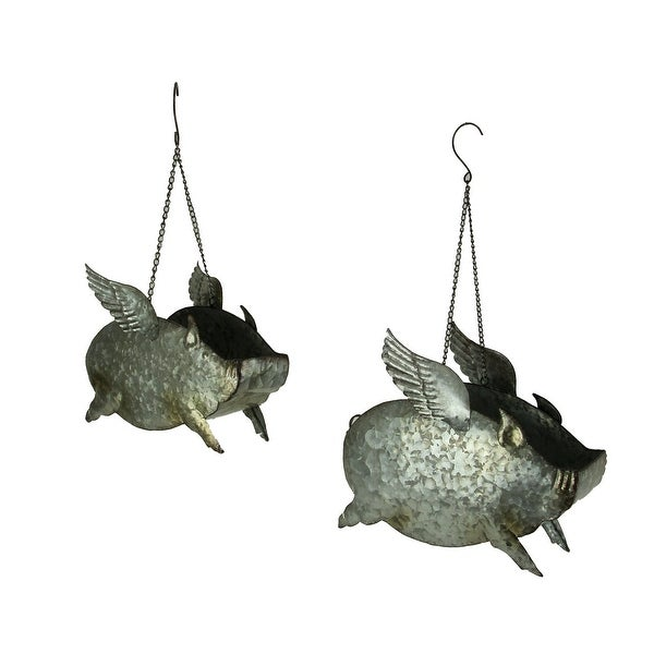 Distressed Galvanized Metal Flying Pig Hanging Planters Set of 2 - 11 X 13.5 X 6 inches