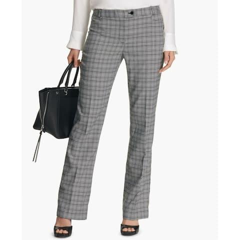 Calvin Klein Women's Plaid Trousers Pants Straight-Leg Black White Size 16 - Silver